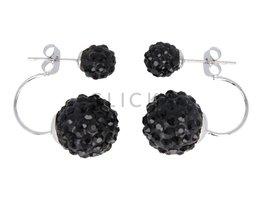 Telinga Oorbellen 2 bollen onder elkaar zwart-strass / zwart-strass (DDOB030)