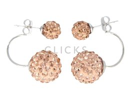 Telinga Ohrringe 2 Kugeln untereinander Strass rosé / Strass rosé (DDOB031)