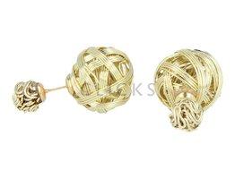 Telinga Oorbellen dubbel gevlochten goud (DDOB035)