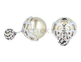 Telinga Ohrringe doppelt Strasskugel / Blatt silber Kugel gold (DDOB037)