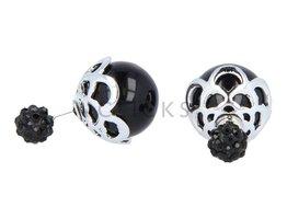 Telinga Oorbellen dubbel strass bol / zilverblad zwart bol (DDOB040)