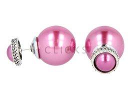 Telinga Ohrringe doppelt halbe Kugel rosa mit Strassrand / Kugel rosa (DDOB041)