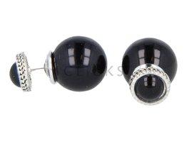 Telinga Oorbellen dubbel halve zwart met strass rand / zwart bol (DDOB043)
