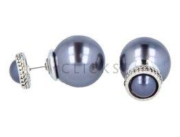 Telinga Oorbellen dubbel halve grijsblauw met strass rand / grijsblauw bol (DDOB046)