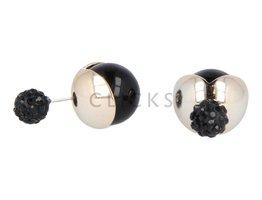 Telinga Ohrringe doppelt Strass / Jacke gold Kugel altsilber (DDOB047)