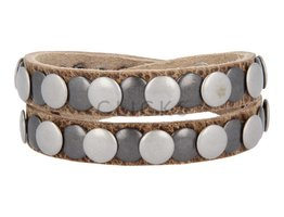 Tenzy Armband 10 mm studs dallas natural zw / zilver (AB026D)