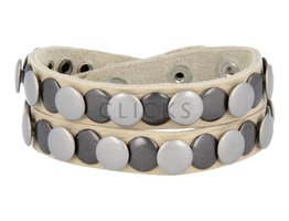Tenzy Armband 10 mm studs creme meubel zw / zilver (AB036D)