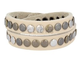 Tenzy Armband 7 mm studs creme meubel (AB037D)