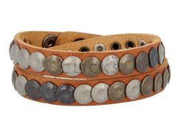 Tenzy Armband 10 mm studs cognac studs mix (AB229D/10)