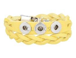 Tenzy Geflochten Armband 38 cm / 3 Mini Klicks / 508 gelbem Leder (AB2305D)