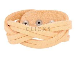 Tenzy Breiten Leder geflochten Armband 6-orange (AB2310)