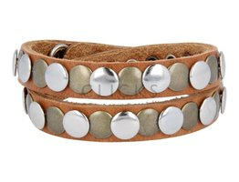 Tenzy Armband 10 mm studs cognac esbeco zilver / goud (AB234D/10)