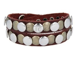 Tenzy Armband 10 mm studs bordeaux rood soepel zilver / goud (AB236D/10)