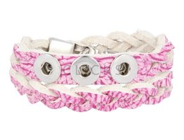 Tenzy Gevlochten armband 38 cm / 3 miniclicks /  douro roze