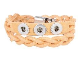 Tenzy Gevlochten armband 40,5 cm / 3 miniclicks /  pastel orange ;AB2392D;