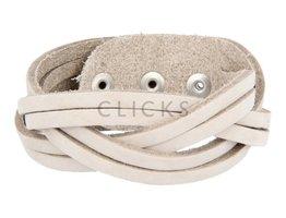 Tenzy Gevlochten armband 6-breed sand nubuck