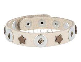 Tenzy Armband studs 1078 sand nubuck / 3 miniclick-brons ster