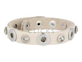 Tenzy Armband studs 1078 sand nubuck / 3 miniclick-grote strass