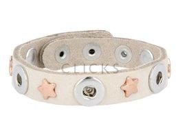 Tenzy Armband studs 1078 sand nubuck / 3 miniclick-rosé ster