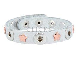 Tenzy Armband studs 1077 sky nubuck / 3 miniclick-rosé ster
