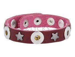 Tenzy Armband Studs 1120 Bordeauxrot/3 MiniClick-Sterne Altsilber