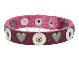 Tenzy Armband Studs 1120 Bordeauxrot/3 MiniClick-Herz Altsilber