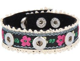 Armband, Stoff mit Blumund für 3 MiniClicks