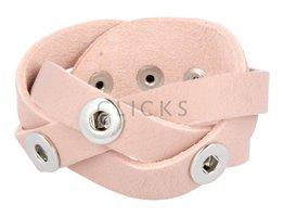 Tenzy Geflochten Armband Einzel / drei Mini Klicks / Leder 501 Lachs (AB2287G / 3)