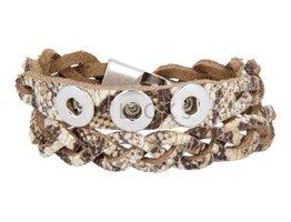 Tenzy Gevlochten armband 40,5 cm / 3 miniclicks / boa ;AB2388D;