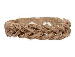 Geflochtenes Armband aus Leder - Schlange Naturfarbe - schmal  (GA1006)