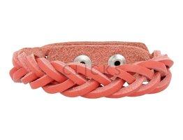 Geflochtenes Armband aus Leder - 503 Korallenrot - schmal (GA1015)