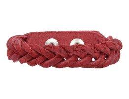 Geflochtenes Armband aus Leder - Schlange Rot - schmal  (GA1016)