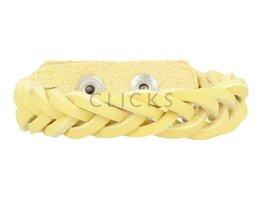 Geflochtenes Armband aus Leder - 508 Gelb - schmal  (GA1021)