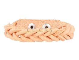 Geflochtenes Armband aus Leder - Pastell Orange - schmal (GA1022)