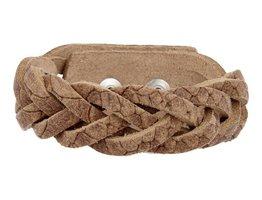 Geflochtenes Armband aus Leder - Schlange Naturfarbe - Medium (GA1030)