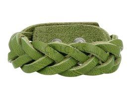 Geflochtenes Armband aus Leder - Verde - Medium (GA1035)