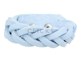 Geflochtenes Armband aus Leder - 505 Hellblau - Medium (GA1037)