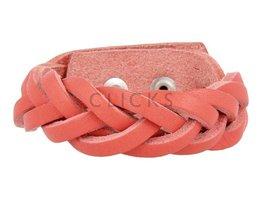 Geflochtenes Armband aus Leder - 503 Korallenrot - Medium (GA1039)