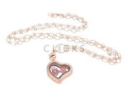 Sweet Memory Lockets Sweet Memory Locket im Herzform mit rosa Blumen Charms (MLS1009)