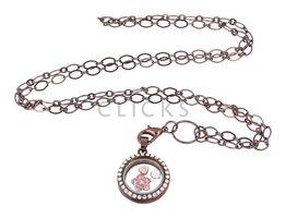 Sweet Memory Lockets Sweet Memory Locket im Kreisform mit rosa Blumen Charms (MLS1038)