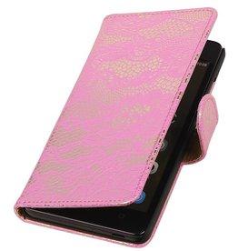 iHoez.nl Lace Huawei Honor 4C Boekhoesje Roze