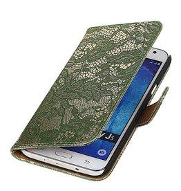 iHoez.nl Lace Samsung Galaxy J5 Boekhoesje Donker Groen