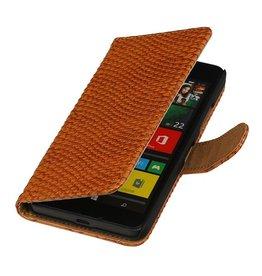 iHoez.nl Snake Microsoft Lumia 640 Boekhoesje Bruin