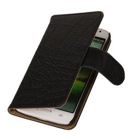 iHoez.nl Croco Huawei Ascend Y330 Boekhoesje Zwart