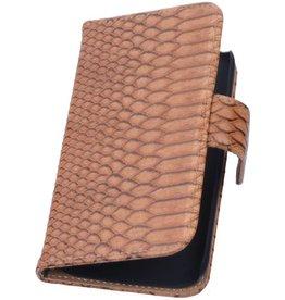 iHoez.nl Snake Huawei Ascend Y330 Boekhoesje Bruin