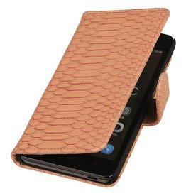 iHoez.nl Snake Huawei Honor 4C Boekhoesje Licht Roze