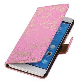 iHoez.nl Lace Huawei Honor 6 Plus Boekhoesje roze