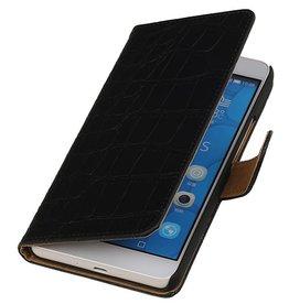 iHoez.nl Croco Huawei Honor 6 Plus Boekhoesje Zwart