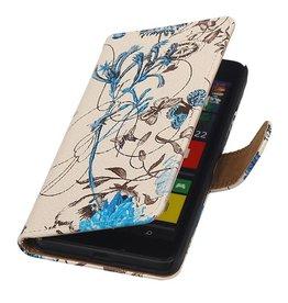 iHoez.nl Bloemen Microsoft Lumia 640 Boekhoesje Blauw