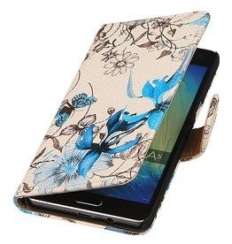 iHoez.nl Bloemen Samsung Galaxy A5 Boekhoesje Blauw